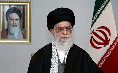 A picture released by the office of Iran's supreme leader Ayatollah Ali Khamenei on March 20, 2014, shows him addressing the nation on the occasion of Noruz, the Iranian New Year, in Tehran. (photo credit: AFP Photo/Office of the Supreme Leader)