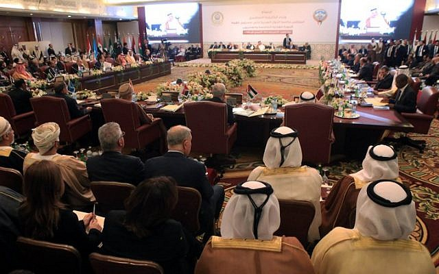 The opening session of the Arab League Foreign ministers's meeting in preparation for the Arab Summit in Kuwait City, on March 23, 2014. (photo credit: AFP/YASSER AL-ZAYYAT)
