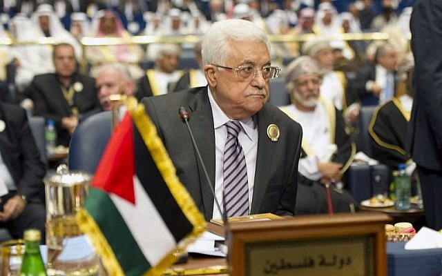 Palestinian leader Mahmoud Abbas attends the 25th Arab League summit, March 25, 2014 (photo credit:AFP/Yasser al-Zayyat)
