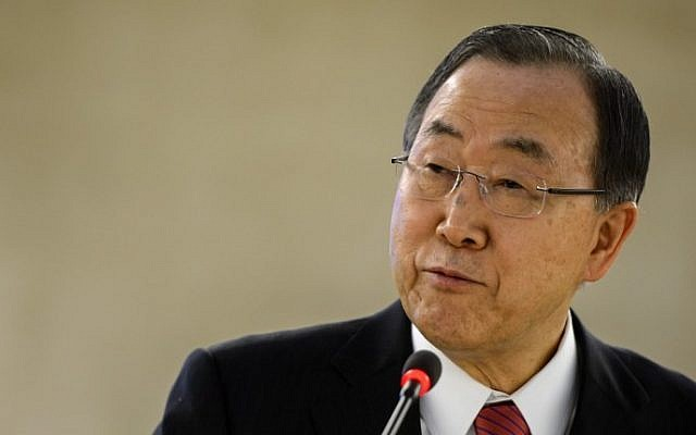 UN Secretary General Ban Ki-moon delivers a speech at the UN Human rights Council session on March 3, 2014 in Geneva. (photo credit: AFP PHOTO / FABRICE COFFRINI)