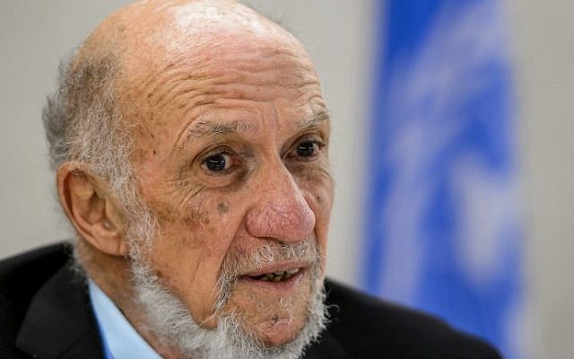Richard Falk (photo credit: Fabrice Coffrini/AFP)