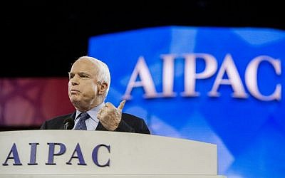 US Senator John McCain, R-AZ, delivers remarks during the AIPAC Conference in Washington, DC, Monday, March 3, 2014. (photo credit: AFP/Jim Watson)