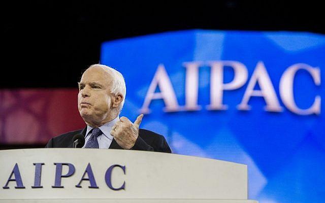 US Senator John McCain, R-Arizona, delivers remarks during the AIPAC Conference in Washington, DC, Monday, March 3, 2014. (AFP/Jim Watson)
