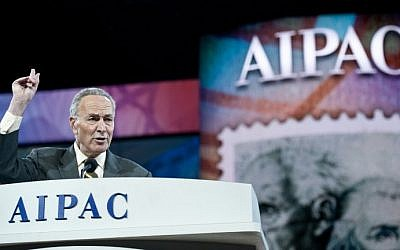 US Democratic Senator from New York Charles Schumer addresses the American Israel Public Affairs Committee policy conference in Washington on Monday, March 3, 2014 (photo credit: AFP/Nicholas Kamm)