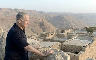 Prime Minister Benjamin Netanyahu visits Masada with producer Peter Greenberg during a whistle-stop 'Royal Tour' of Israel. (photo credit: Kobi Gideon/Government Press Office)