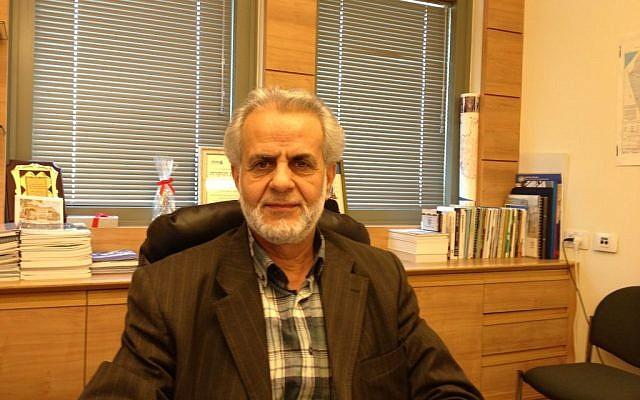 MK Ibrahim Sarsur at his Knesset office, April 4, 2014 (photo credit: Elhanan Miller/Times of Israel)