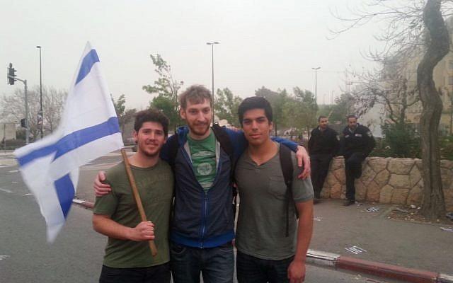 Aaron Broyde, left,  Jon Morgan and Jonathan Vasquez (photo credit: Mitch Ginsburg/ Times of Israel)
