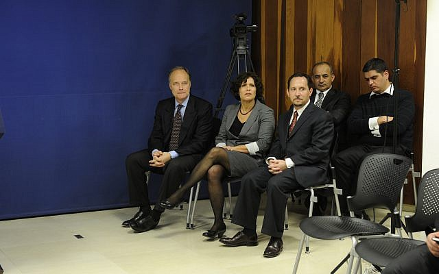 Daniel Rubinstein, front row right, with Cisco manager Zina Abzuk, center, and ambassador Bill Cunningham at an event in Jerusalem in 2010. (photo credit: US State Department)