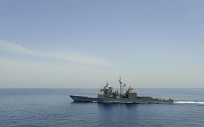 Illustrative photo of a US warship as it crosses the Gulf of Aden (photo credit: Kristopher Wilson/US Navy/Wikimedia Commons/File)