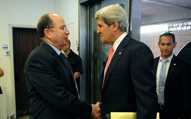 John Kerry, right, meeting with Moshe Ya'alon in Jerusalem in May, 2013. (photo credit: US State Department)