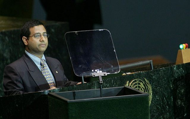 Ahmed Shaheed addresses the UN General Assembly in 2005. (photo credit: AP/John Marshall Mantel)