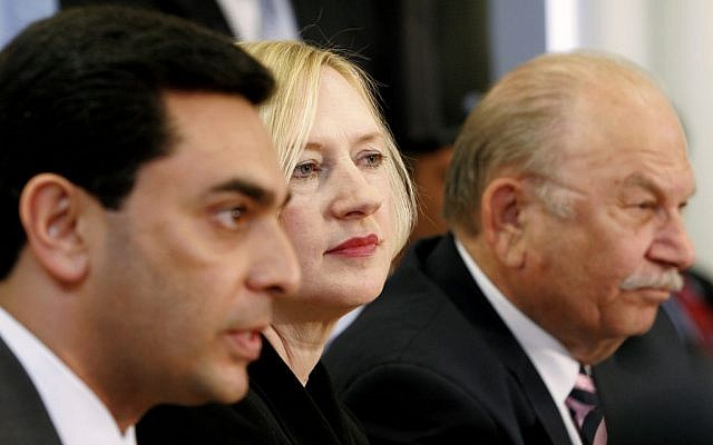 Ozdil Nami, left, pictured in Nicosia. (photo credit: AP Photo/Petros Karadjias)