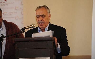 Abbas representative Muhammad Al-Madani addressing the Prague Forum, March 23, 2014 (photo credit: courtesy/AJEEC-NISPED)