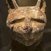 """A cat coffin with mummy, is displayed as part of the exhibit """"Soulful Creatures: Animal Mummies in Ancient Egypt,"""" at the Orange County's Bowers Museum in Santa Ana, Calif. (photo credit: AP/Damian Dovarganes)"""