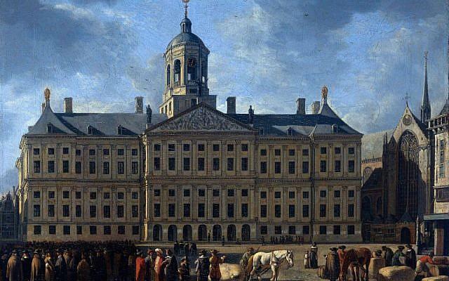 """Amsterdam Town Hall"" by Gerrit Berckheyde. (Screen capture: Rijksmuseum website)"