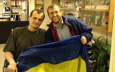 Jeremy Borovitz, right, and Artem Zaptotski at Hadassah Hospital in Jerusalem (photo credit: Courtesy Jeremy Borovitz)