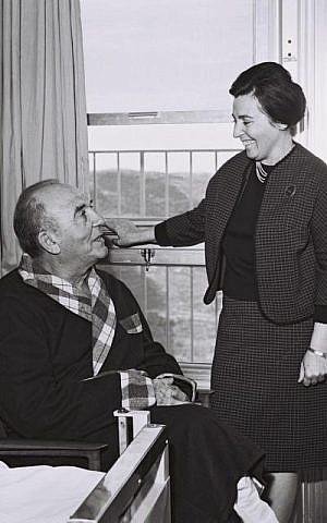 Levy Eshkol (sitting) and his wife, Miriam, at Hadassah Hospital in Jerusalem (photo credit: GPO)