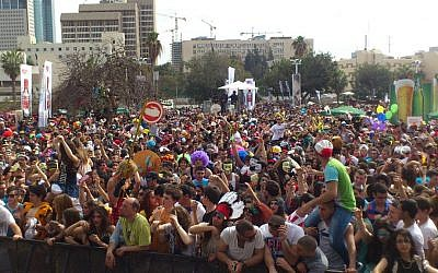 Partying at Tel Aviv's annual Purim street party (Courtesy City of Tel Aviv)
