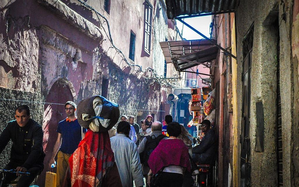 A crowded street leading to Marrakech's mellah. (photo credit: Michal Shmulovich)