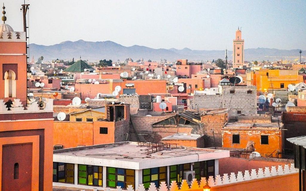 A view of the medina, or old city, of Marrakech, with the Atlas Mountains in the distance. (photo credit: Michal Shmulovich)