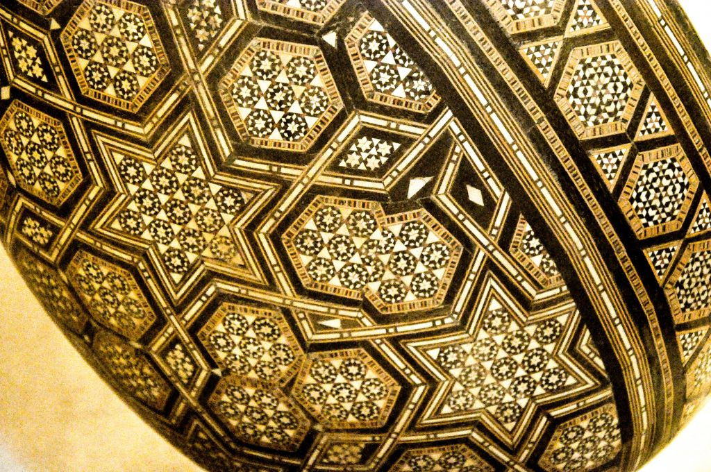 A detailed view of an oud, the Middle Eastern ancestor of the guitar, decorated with Stars of David, on display at a museum in Fez. (photo credit: Michal Shmulovich)