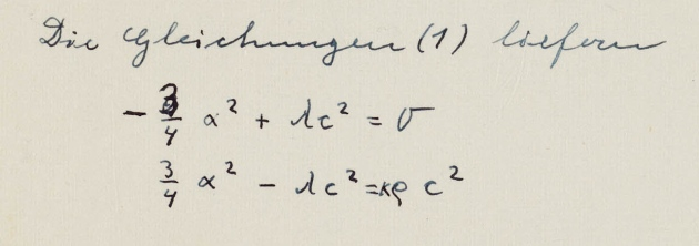 Einstein's corrected calculation (photo credit: Albert Einstein Archives, Hebrew University of Jerusalem)