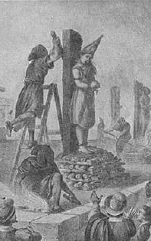 Execution of Mariana de Carabajal at Mexico, 1601. Source: From Palacio, 'El Libro Rojo', reprinted in the Jewish Encyclopedia (public domain)åç