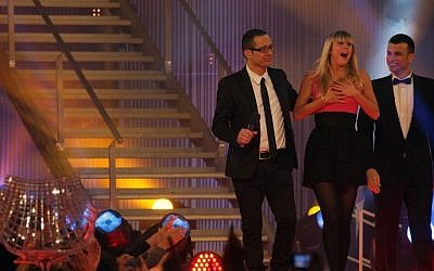 Reality TV star Alin Levy (middle) reacts during the finale of the Israeli version of Big Brother in March 2010. (photo credit: Kobi Gideon/Flash90)