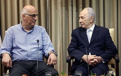 David Meidan with President Shimon Peres (photo credit: Miriam Alster/Flash90)