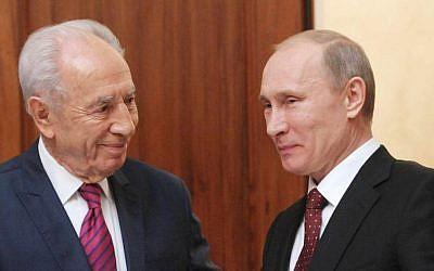 Vladimir Putin with Israeli President Shimon Peres during Peres' official visit to Moscow in 2012. (Mark Neyman/GPO/FLASH90/JTA)