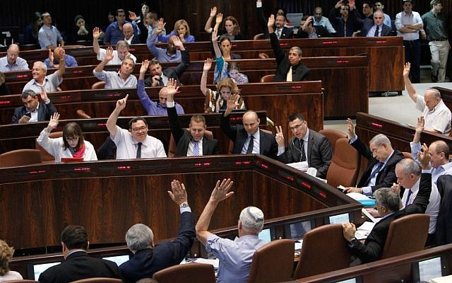 An illustrative photo of a vote in the Knesset. (photo credit: Miriam Alster/FLASH90)
