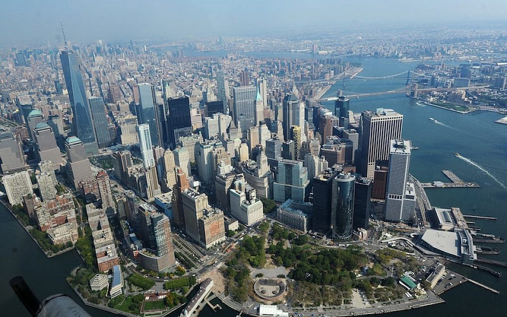Aerial view of New York's financial district (Mendy Hechtman/Flash90)