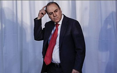 Former Likud MK and presidential hopeful Silvan Shalom pictured at a joint press conference of Israeli Prime Minister Benjamin Netanyahu and Canadian Prime Minister, Stephen Harper, on Tuesday, January 21, 2014. (photo credit: Flash 90)
