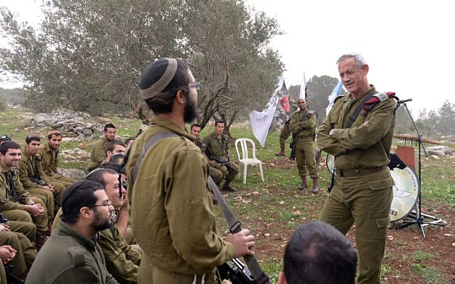 Then-IDF Chief Benny Gantz speaks to members of an ultra-Orthodox unit, March 2014 (photo credit: IDF Spokesperson/Flash90)