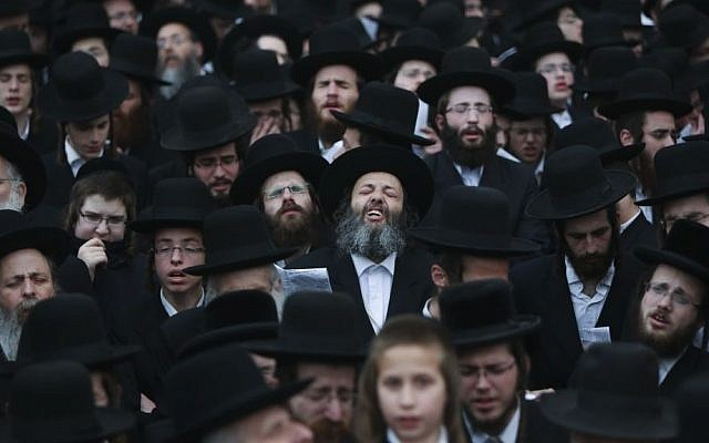 Ultra-Orthodox Jews attend a mass protest in Jerusalem against compulsory military service, March 2, 2014 (photo credit: Yonatan Sindel/Flash90)