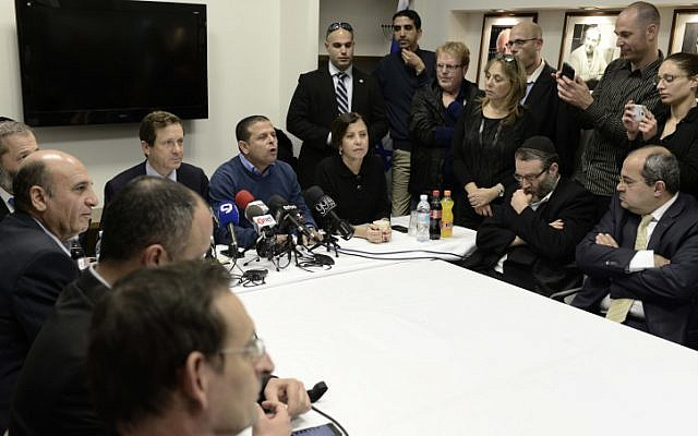 Opposition MKs meet Sunday night ahead of a boycott of three bills in the Knesset. (photo credit: Tomer Neuberg/Flash90)