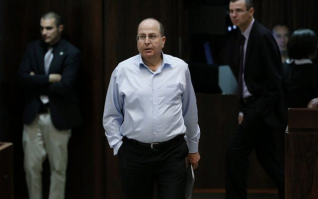 Moshe Ya'alon at the Knesset on March 11, 2014 (photo credit: Miriam Alster/Flash90)