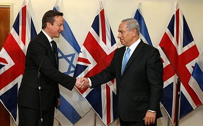 Israeli Prime Minister Benjamin Netanyahu meets with British Prime Minister, David Cameron, at Netanyahu's office in Jerusalem on Wednesday, March 12, 2014. (Photo by Amit Shabi/POOL/Flash90)