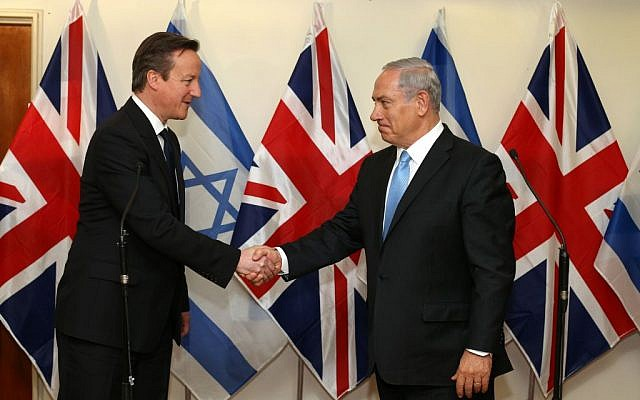 Israeli Prime Minister Benjamin Netanyahu meets British Prime Minister David Cameron at Netanyahu's office in Jerusalem on Wednesday, March 12, 2014. (Photo by Amit Shabi/POOL/Flash90)