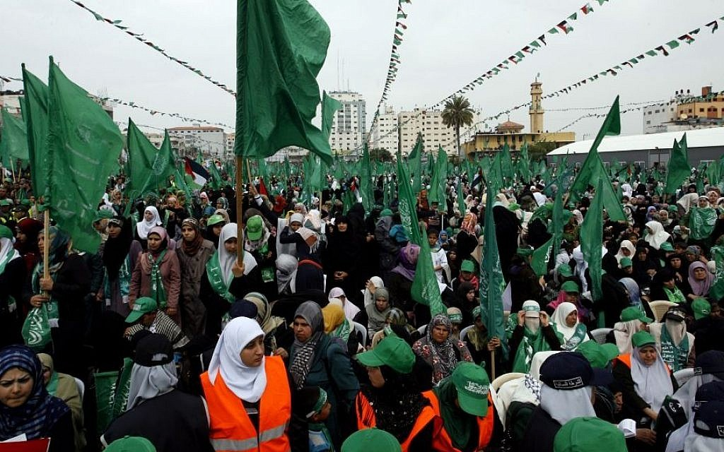 Tens of thousands of Hamas supporters during a rally to commemorate the 10-year anniversary of the assassination of the group's spiritual leader Sheik Ahmed Yassin in an Israeli airstrike a decade ago, in Gaza City, Sunday, March 23, 2014. (photo credit: Abed Rahim Khatib/Flash90)