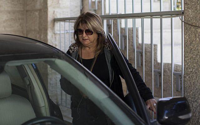 Shula Zaken, former bureau chief of ex-prime minister Ehud Olmert, leaving her home in Jerusalem on March 27, 2014. (photo credit: Yonatan Sindel/Flash90)