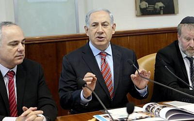 Prime Minister Benjamin Netanyahu speaks during the weekly cabinet meeting at the Prime Minister's Office in Jerusalem on March 30, 2014. (Danny Meron/Flash90)