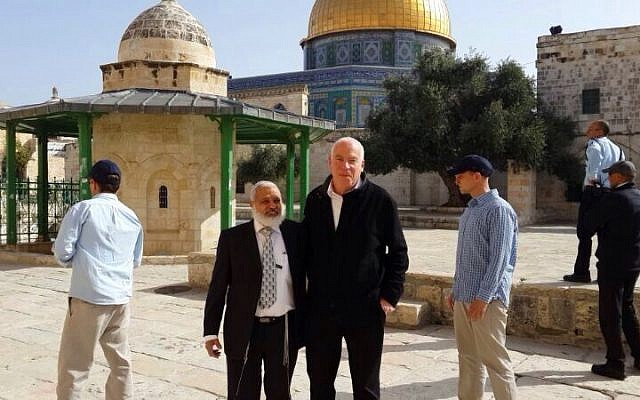 Minister Uri Ariel on the Temple Mount on March 16, 2014 (photo credit: Uri Ariel's spokesman's office)