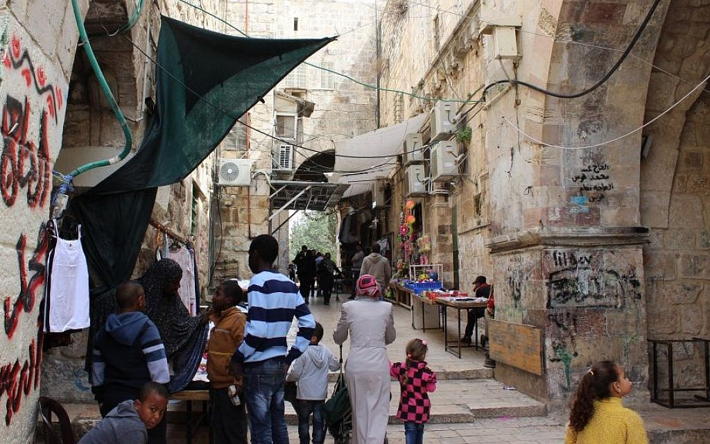 The African Quarter of the Old City, with the Council Gate to the Temple Mount at center. (photo credit: Ilan Ben Zion/Times of Israel staff)