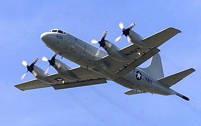 Illustrative photo of a P-3C Orion, similar to the P-3 Orion, which is being used in the search for Malaysia Airlines Flight 370 (photo credit: AP/Stevan Morgain/File)