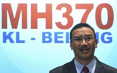Malaysian acting Transport Minister Hishammuddin Hussein speaks during a press conference at a hotel in Sepang, Malaysia, Thursday, March 20, 2014. (photo credit: AP photo)