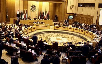 Arab foreign ministers meet at the Arab League building in Cairo, Egypt, on March 9, 2014. (photo credit: AP/Ahmed Gomaa)
