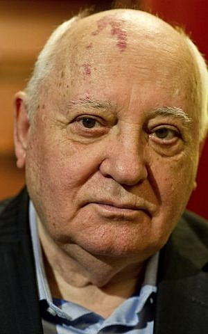 Former Soviet leader Mikhail Gorbachev, 82, during an interview to The Associated Press, Feb. 24, 2014 (photo credit: AP/Al Moutasim Al Maskery)