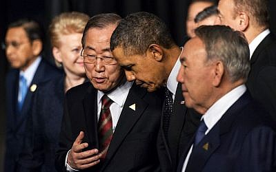 UN Secretary General Ban Ki-moon, third left, speaks with US President Barack Obama, second right,on the last day of the Nuclear Security Summit (NSS) in The Hague, Netherlands, Tuesday, March 25, 2014. (photo credit: AP Photo/Robin van Lonkhuijsen, Pool)