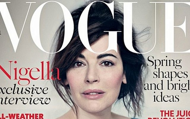 Nigella Lawson's April Vogue cover (screenshot of detail)